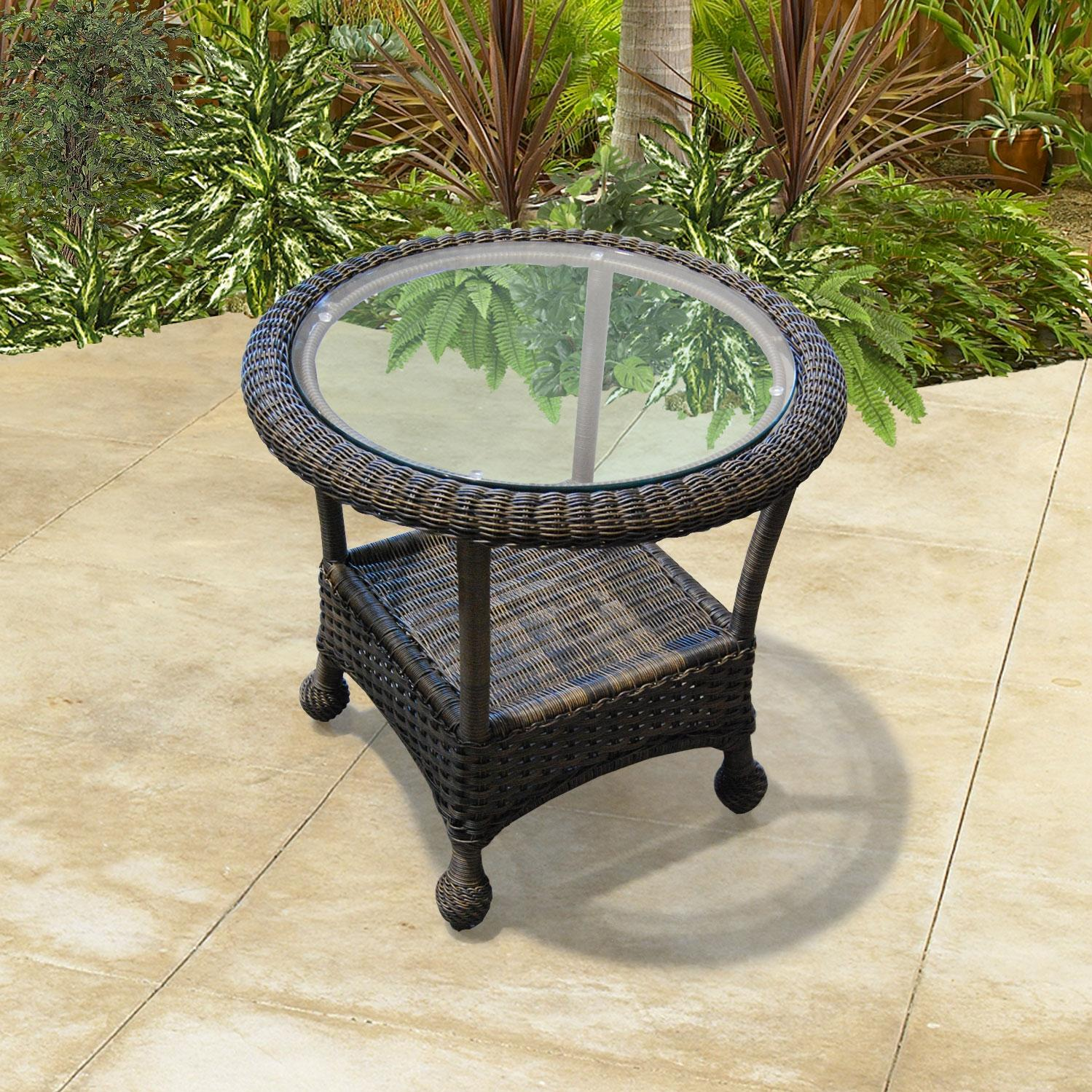 North Cape Montclair End Table W/ Glass Top - Cappuccino
