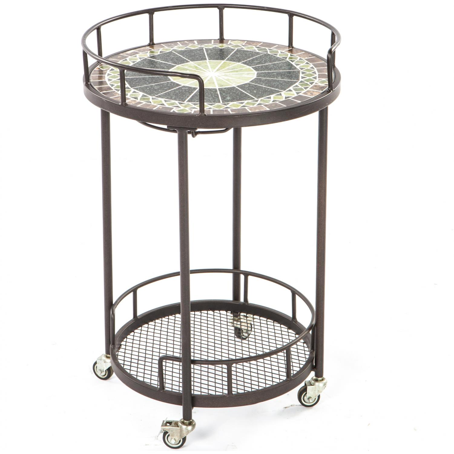 Picture of Alfresco Home Ponte Mosaic Outdoor Serving Cart
