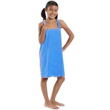 Terry Town Girls Terry Velour Body Wrap Towel Medium - Aqua