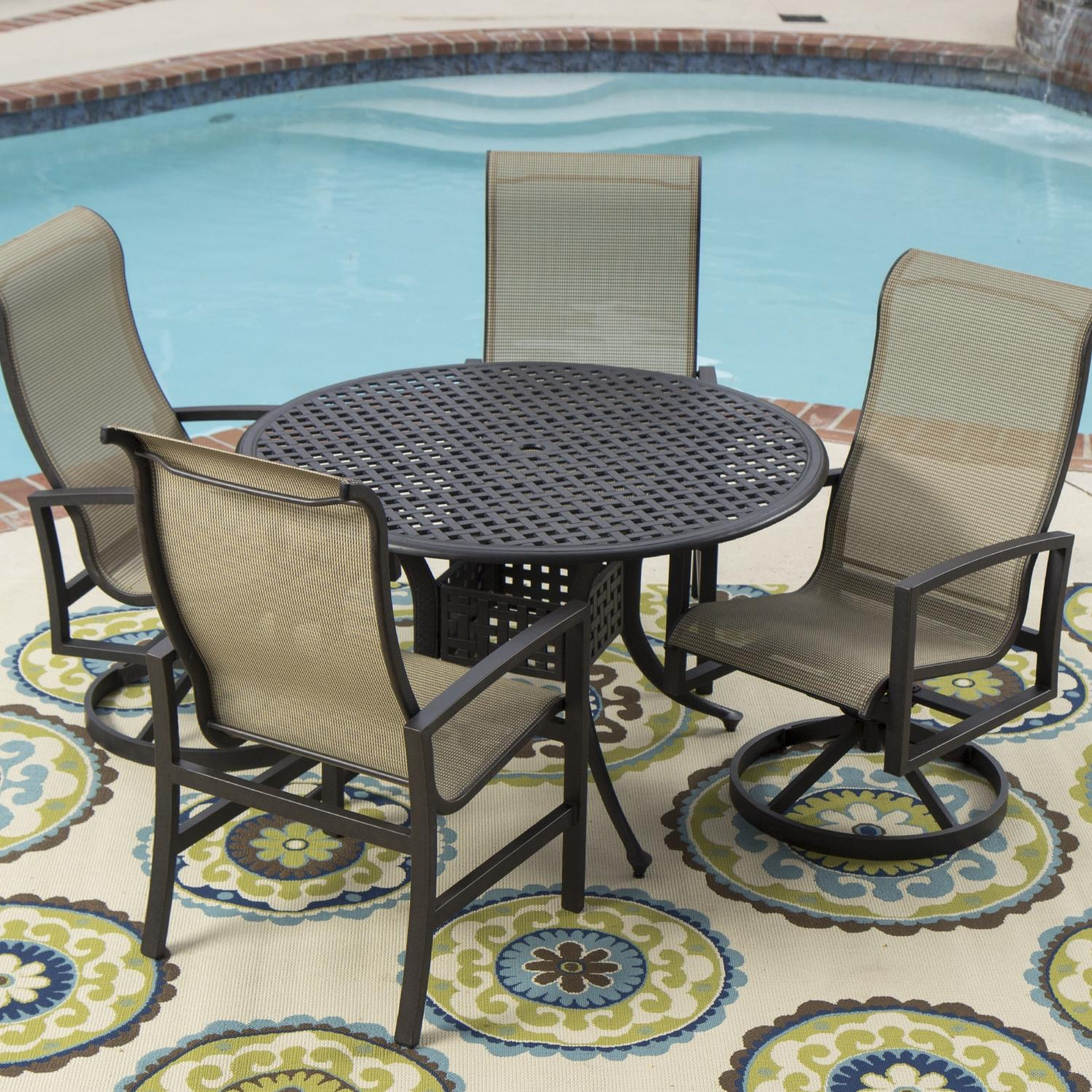 Picture of Acadia 4-Person Sling Patio Dining Set With 2 Swivel Rockers And Round Table By Lakeview Outdoor Designs