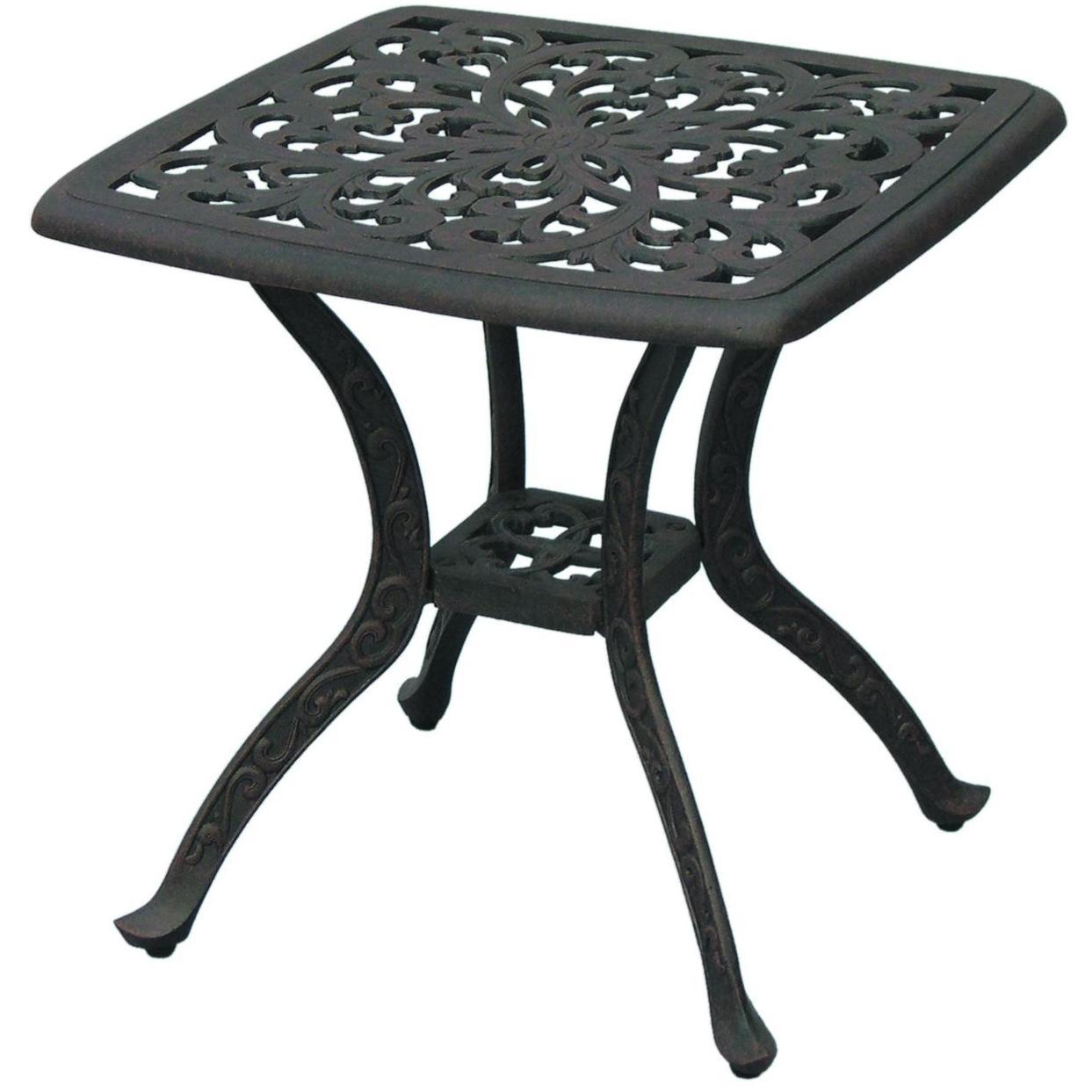 Darlee Catalina Cast Aluminum Outdoor Patio End Table - 21 Inch Square - Antique Bronze