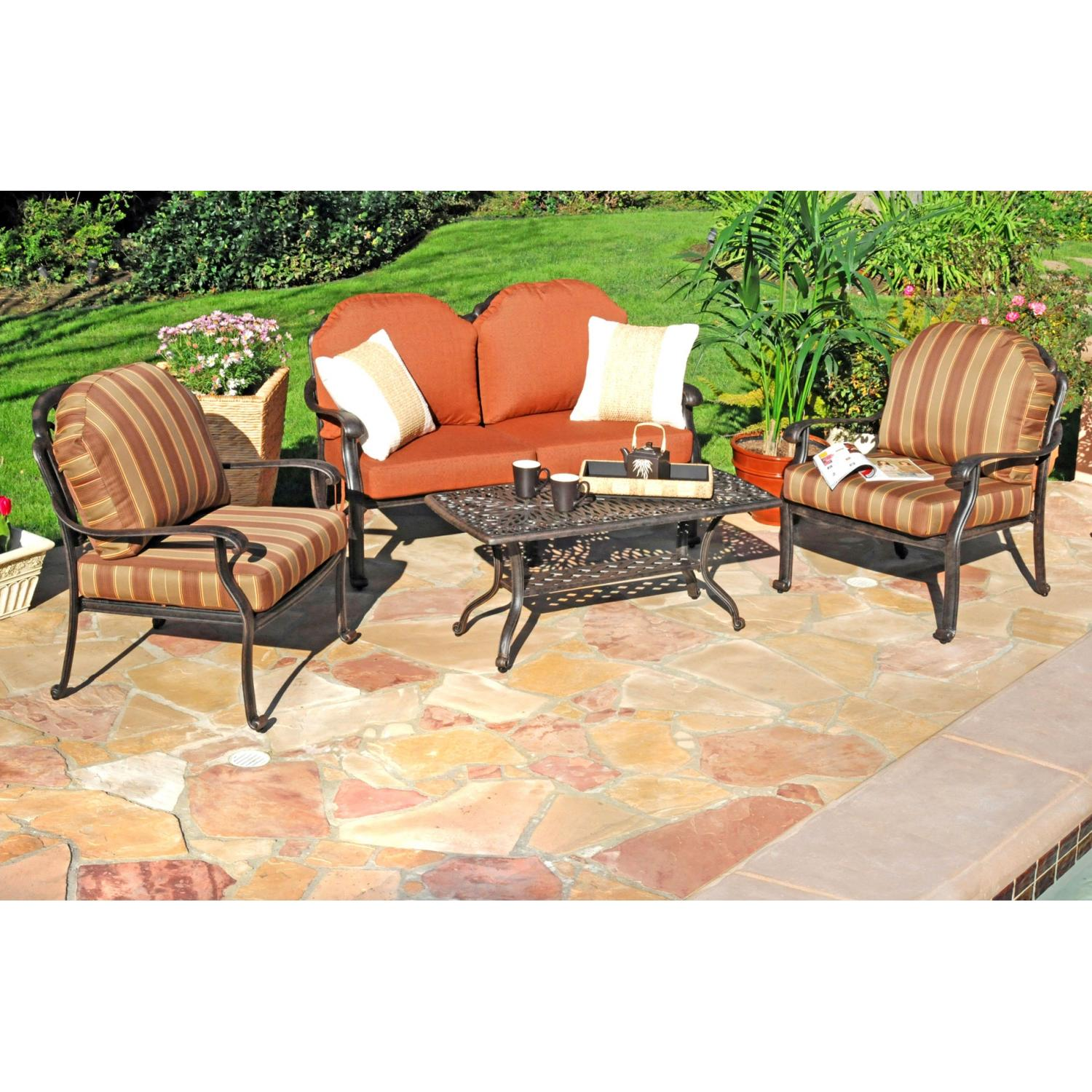 Caluco Florence Aluminum Lounge Set With Two Club Chairs