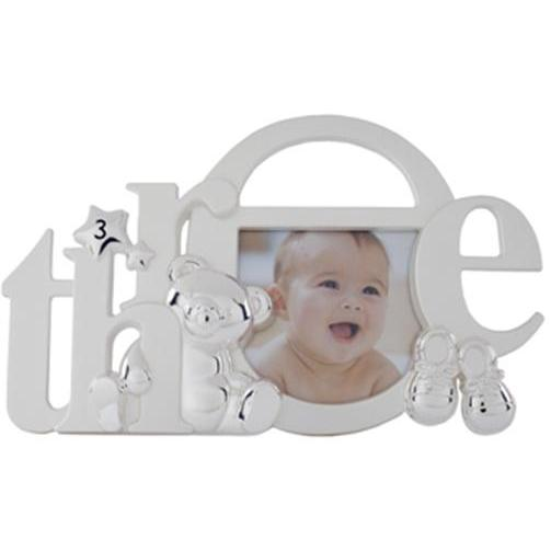 Elegant Baby Silver-Plated Birthday Photo Frame - Three