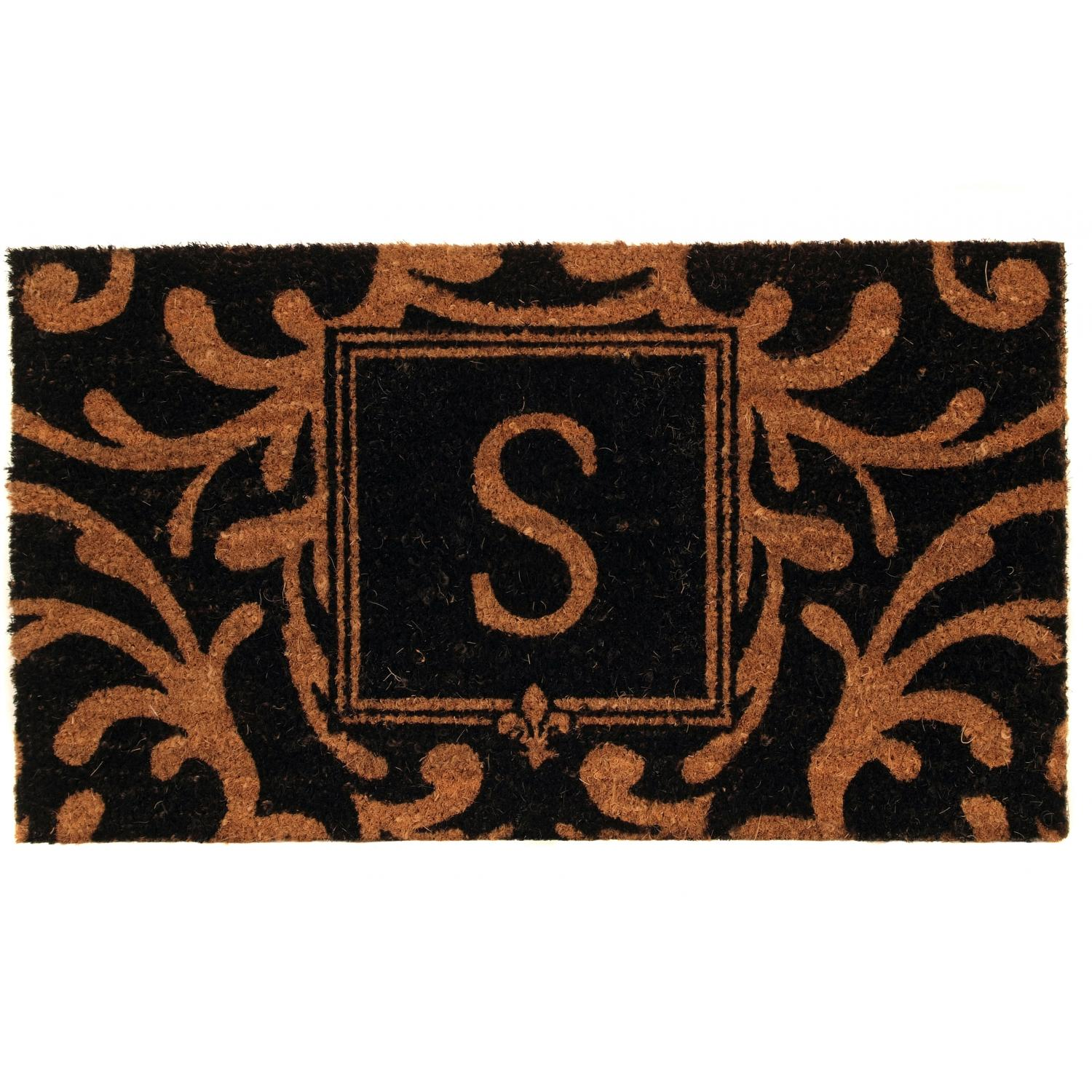 Picture of Evergreen Classic Block Monogram Coir Door Mat - Letter S