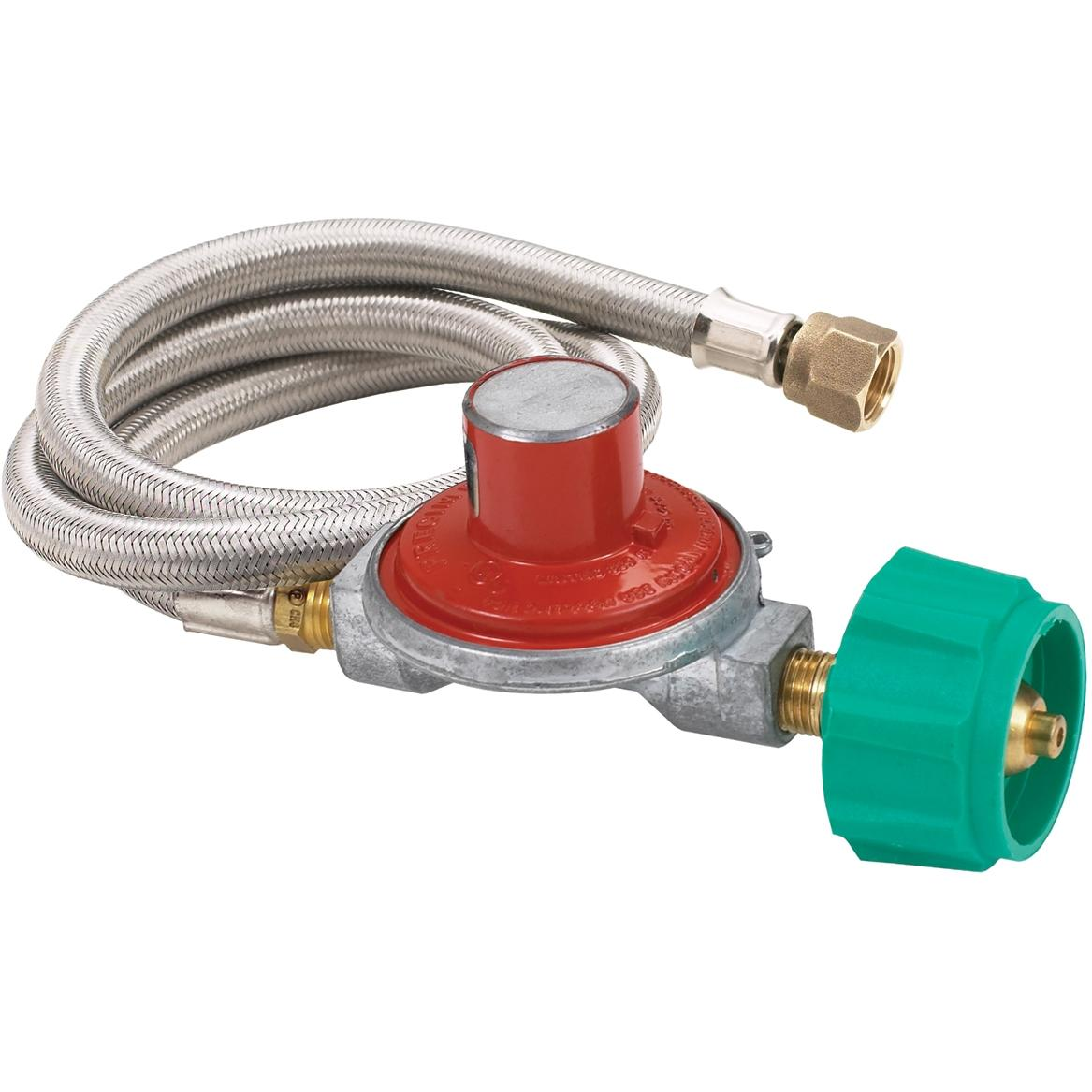 Bayou Classic 36 Inch High Pressure Stainless Braided Propane Hose And 15 PSI Preset Regulator