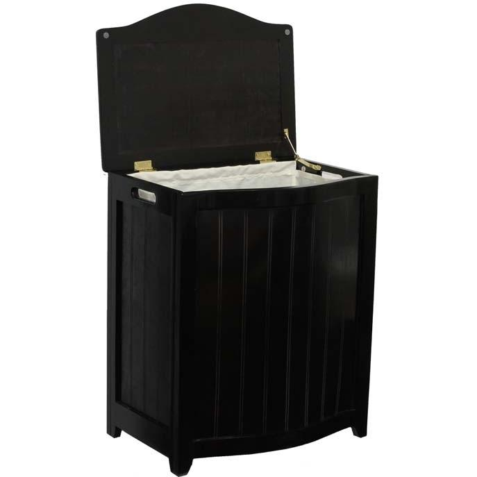 Oceanstar Laundry Hamper In Dark Mahogany Finished Wood With Interior Bag - BHP0106MH