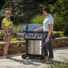 Broil King Signet 90 3-Burner Freestanding Propane Gas Grill With Rotisserie & Side Burner - Stainless Steel Broil King Signet 90 3-Burner Freestanding Gas Grill - In Use