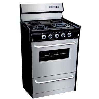 Summit Professional Series TEM630BKWY 24-Inch Freestanding Electric Range - Black