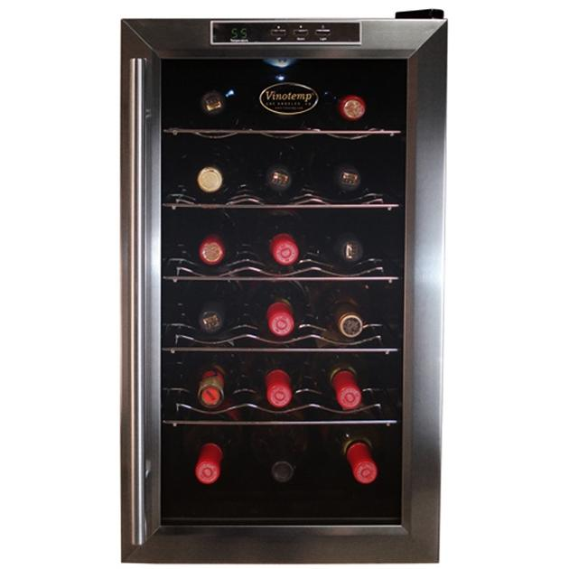 VinoTemp VT-18TEDS 18 Bottle Thermoelectric Wine Cooler - Glass Door / Black Cabinet