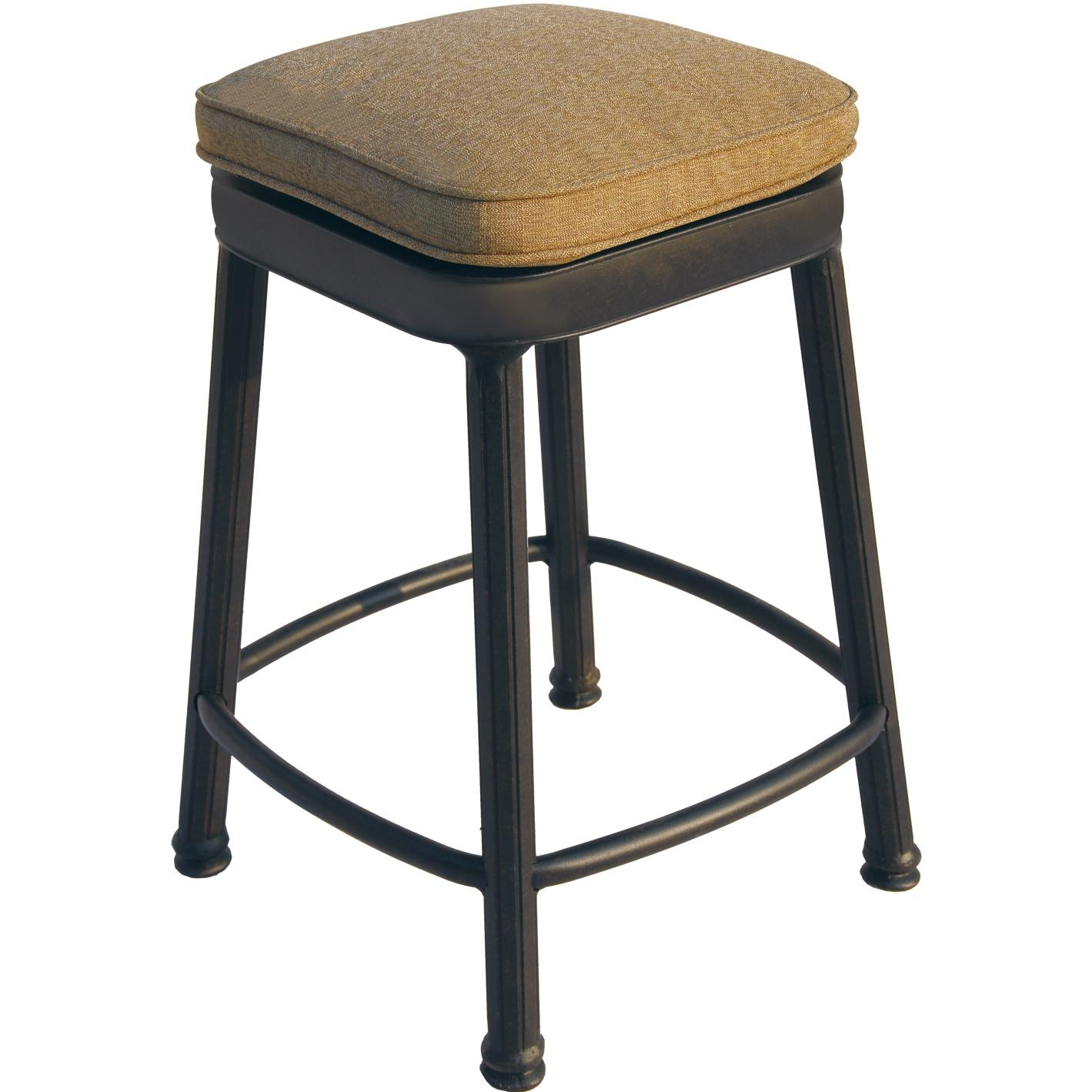 Darlee Cast Aluminum Outdoor Patio Backless Counter Height Square Bar Stool With Cushion - Antique Bronze