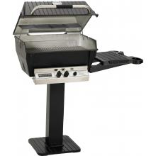 Broilmaster H3 Deluxe Natural Gas Grill On Black Patio Post With Black Drop Down Side Shelf