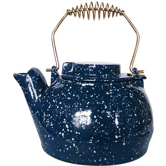 UniFlame 2.5 Qt Blue Porcelain Coated Kettle With White Speckles