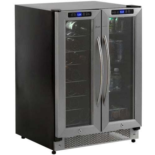 Avanti WBV21DZ 21 Bottle / 54 Can Built-In Dual Zone Wine And Beverage Cooler - Glass Doors / Stainless Steel Trim