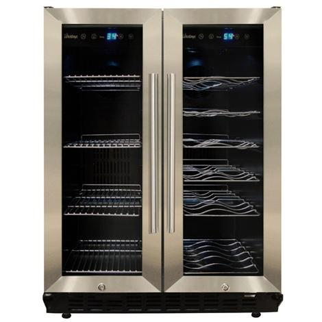 Vinotemp VT-36 19 Bottle / 58 Can Built-In / Freestanding Dual-Zone Wine & Beverage Cooler - Glass Doors / Stainless Steel Trim