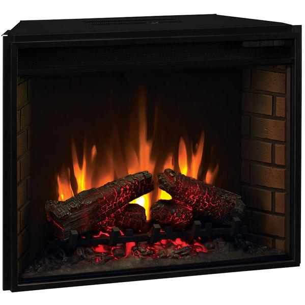 ClassicFlame 28EF022GRA 28 Inch Fixed Front Electric Fireplace Insert With Backlit Display And Remote - Black