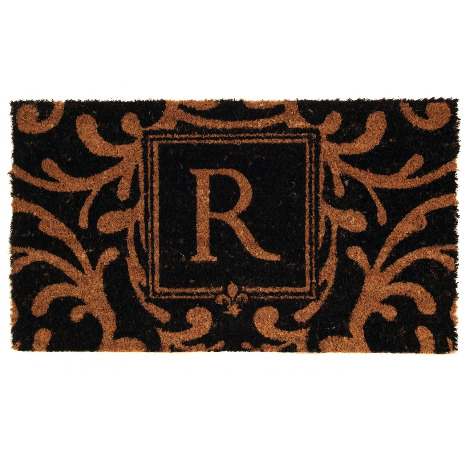 Picture of Evergreen Classic Block Monogram Coir Door Mat - Letter R