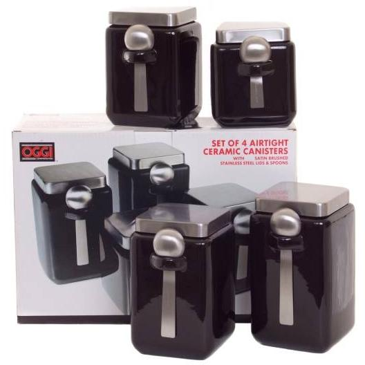 Oggi 4 Piece Black & Stainless Canister Set