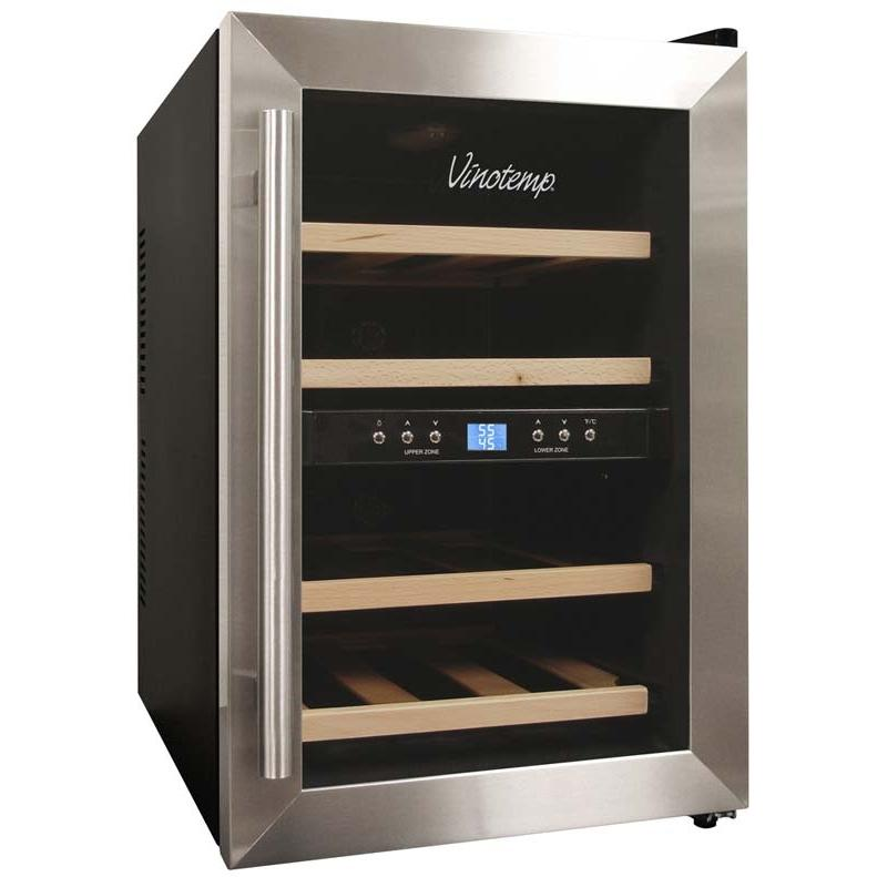 Vinotemp VT-12TEDS-2Z 12 Bottle Thermoelectric Dual Zone Wine Cooler - Glass Door / Stainless Steel Trim