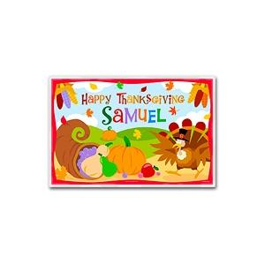Olive Kids Personalized Laminate Placemat - Turkeys Happy Thanksgiving