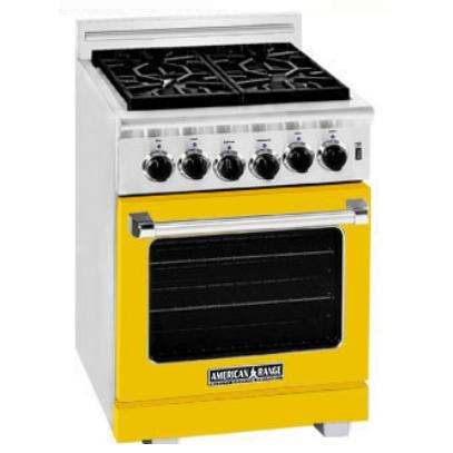 American Range ARR-244 24 Inch Natural Gas Range With 4 Burners - Vibrant Yellow