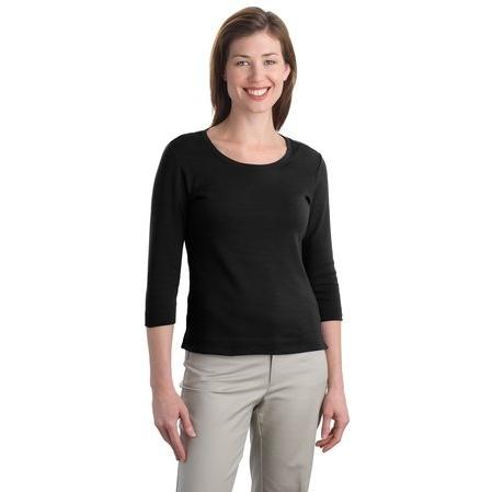 Port Authority Ladies Modern Stretch Cotton 3/4-Sleeve Scoop Neck Shirt 3XL - Black