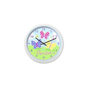 Olive Kids Personalized Wall Clock - Butterfly Garden White