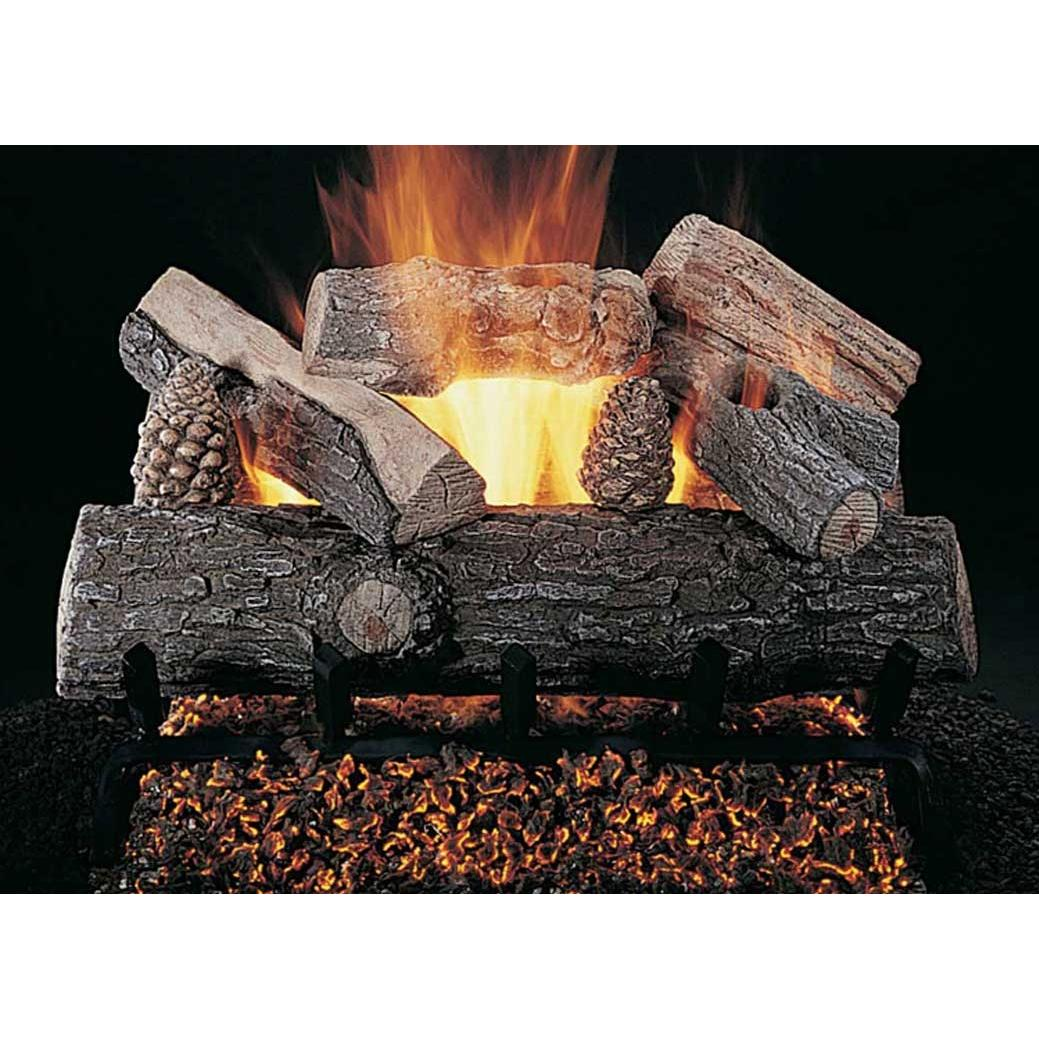 Rasmussen 18 Inch Lone Star Gas Log Set With Vented Natural Gas ANSI Certified Flaming Ember Burner - Remote Ready Safety Pilot