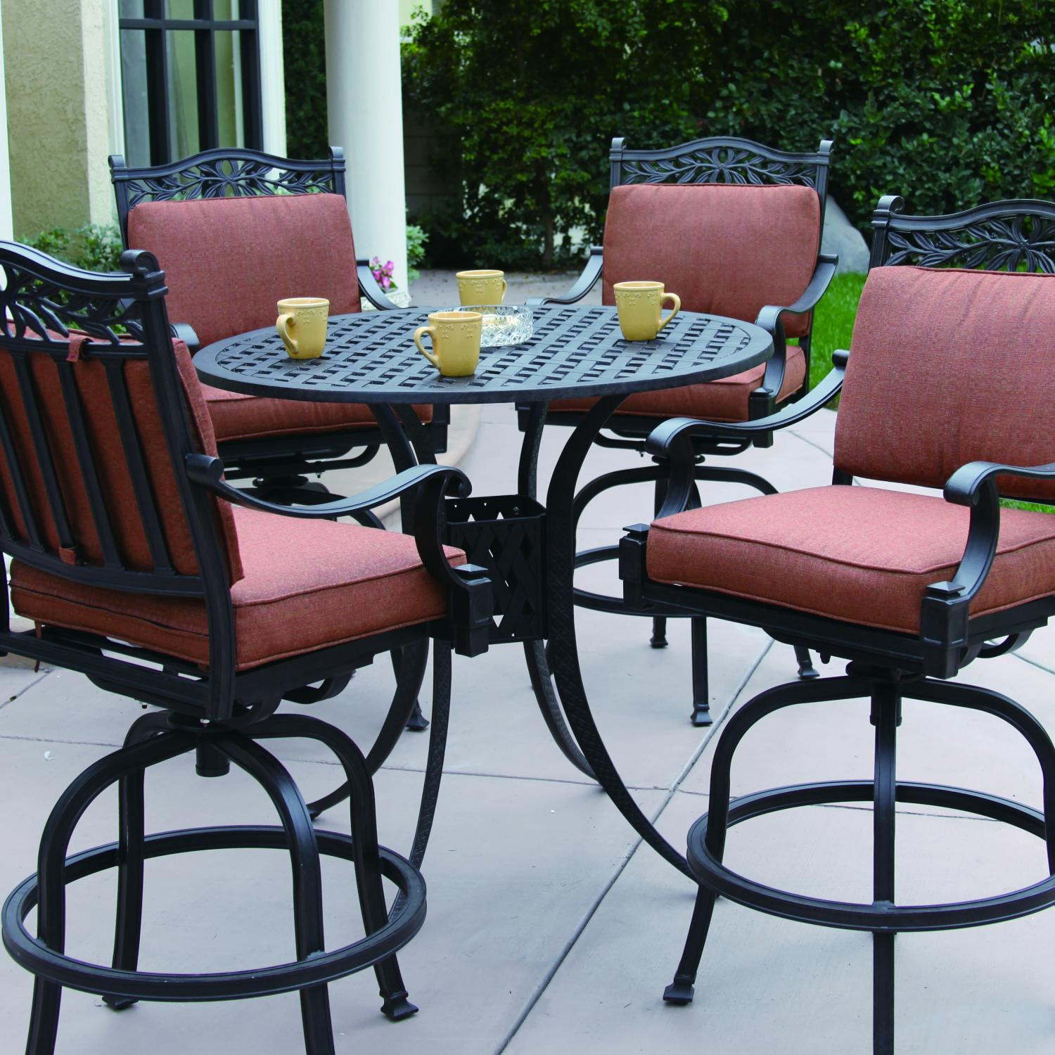 Pleasing Buy Darlee Charleston 4 Person Cast Aluminum Patio Bar Set Interior Design Ideas Inesswwsoteloinfo