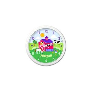 Olive Kids Personalized Wall Clock - Country Farm White Frame