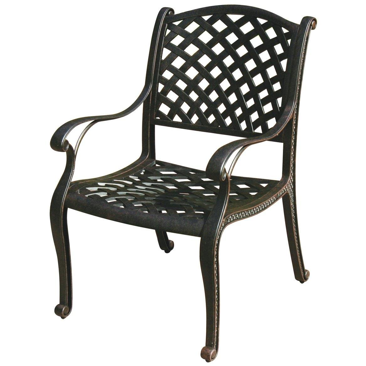 Darlee Nassau Cast Aluminum Outdoor Patio Dining Chair With Cushion - Antique Bronze
