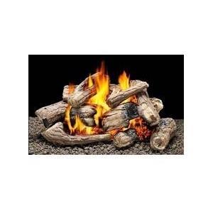 Firegear 18-Inch Kensington Vented Natural Gas Log Set With ANSI Certified Fiamma Triple Burner - Manual Safety Pilot
