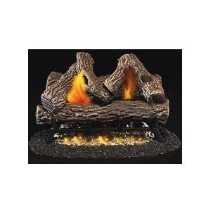 Firegear 18-Inch Great Lakes Oak Vented Natural Gas Log Set With ANSI Certified Fiamma Triple Burner - Manual Safety Pilot