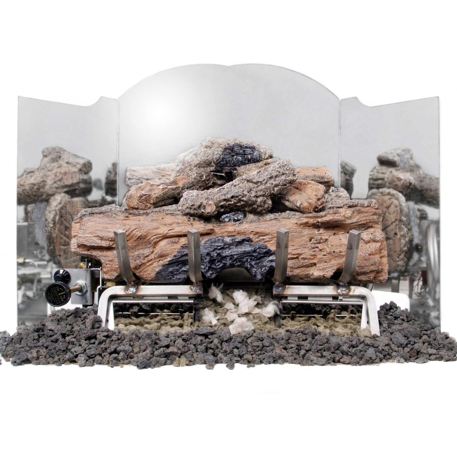 Peterson Gas Logs 18 Inch 3-Fold Traditional Polished Stainless Steel Fireback