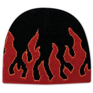 Otto Cap 8 Inch Flame Design Acrylic Knit Beanie - Black/Red/Gold