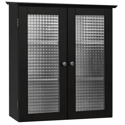 Elegant Home Fashions Chesterfield Wall Cabinet, 2 Glass Doors 6209