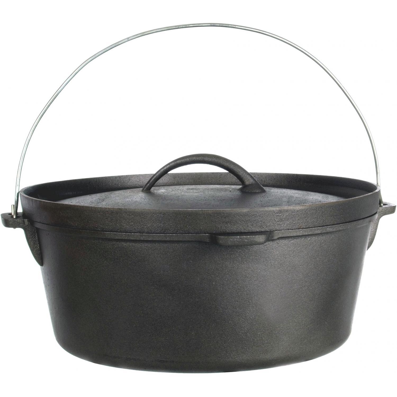 Cajun Cookware Pots 12-Quart Seasoned Cast Iron Camp Pot - GL10476S