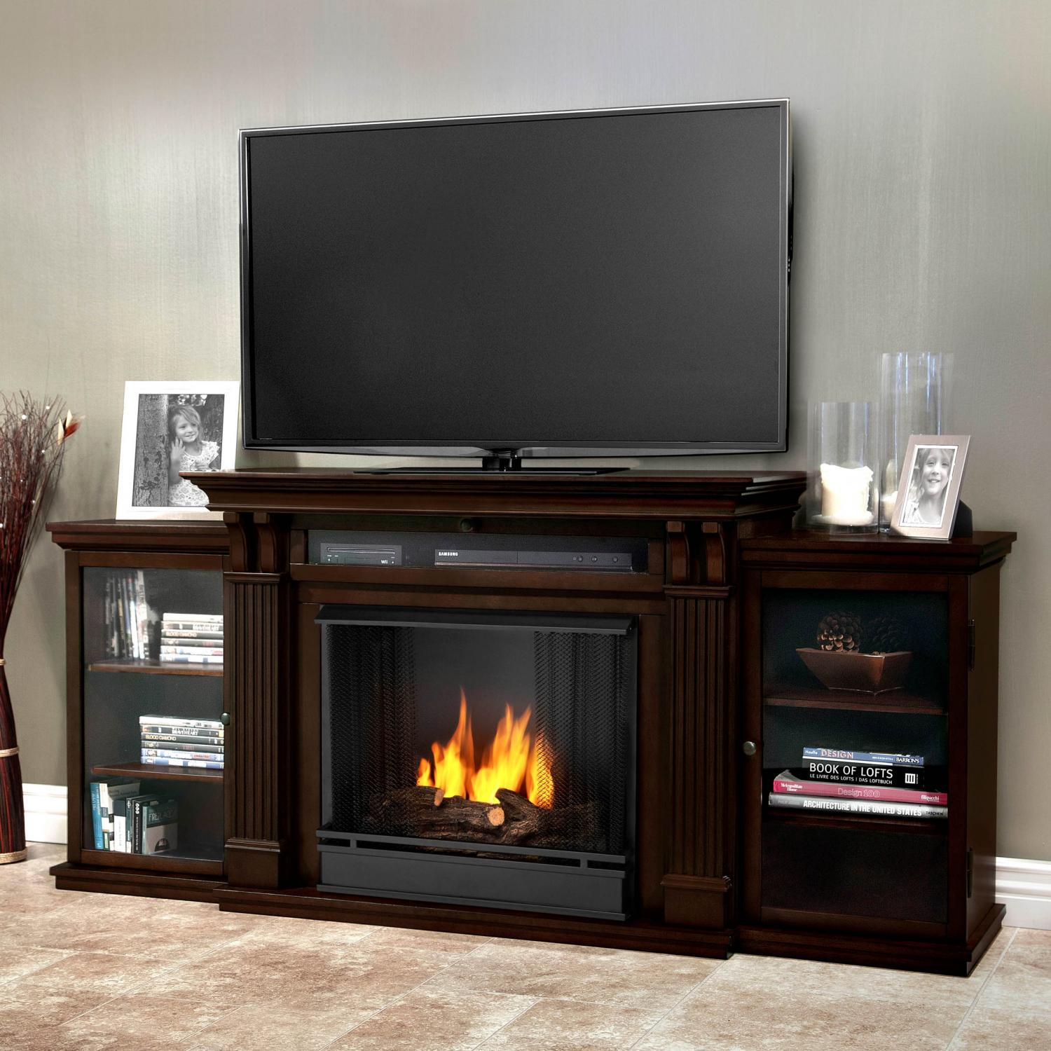 Picture of Real Flame Ashley 67-Inch Gel Fireplace Media Console - Dark Walnut