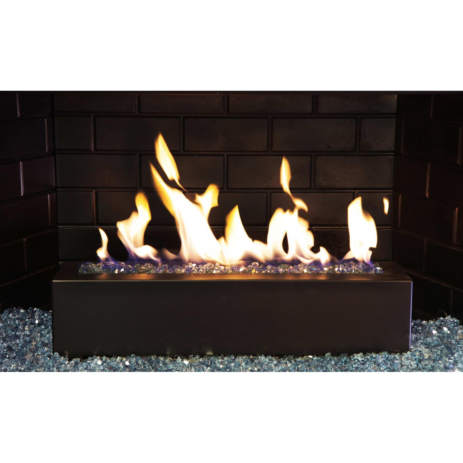 Picture of Golden Blount 24-Inch Alpine Linear Burner With Decorative Black Front Face And Steel Blue Reflective Fire Glass