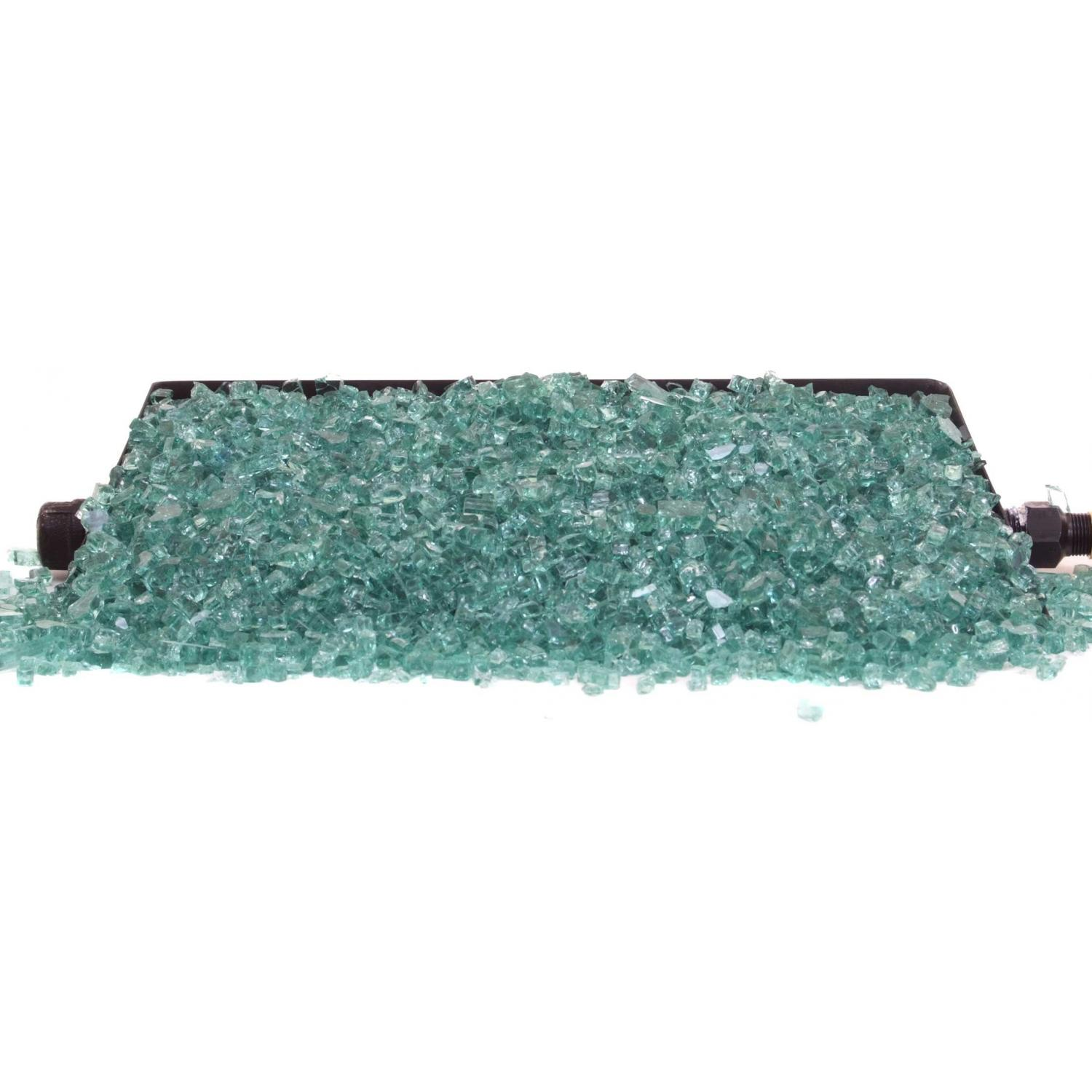 Picture of Peterson Fyre Glass 16 Inch Emerald Fire Glass Set With Vented Propane G45 Burner - Manual Safety Pilot