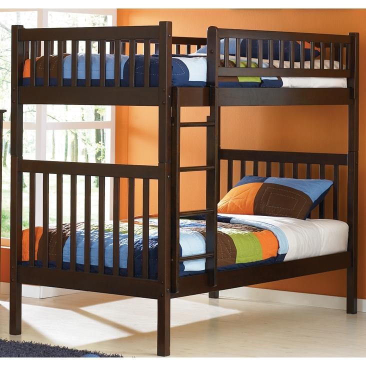 Atlantic Furniture 2000400 Arizona Twin / Twin Bunk Beds Antique Walnut