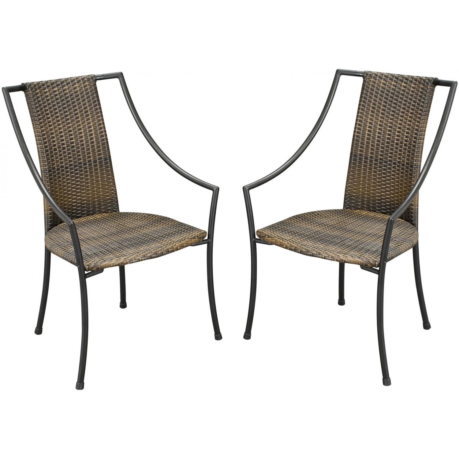 Home Styles Laguna Outdoor Patio Dining Chairs With Cushions - Set Of 2 - Walnut Brown