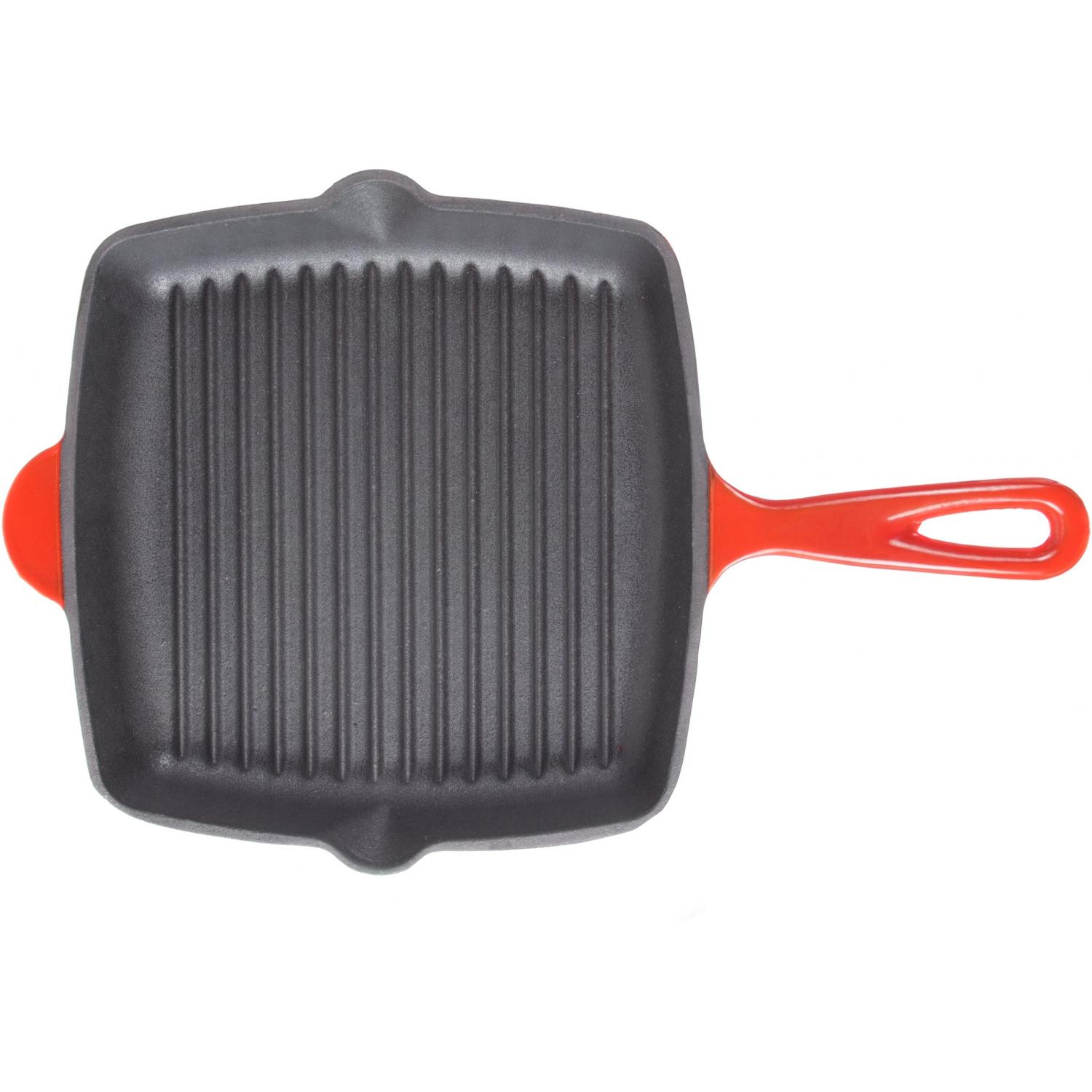 Cajun Cookware Pans 10 Inch Enamel Cast Iron Grill Pan - Red/Black