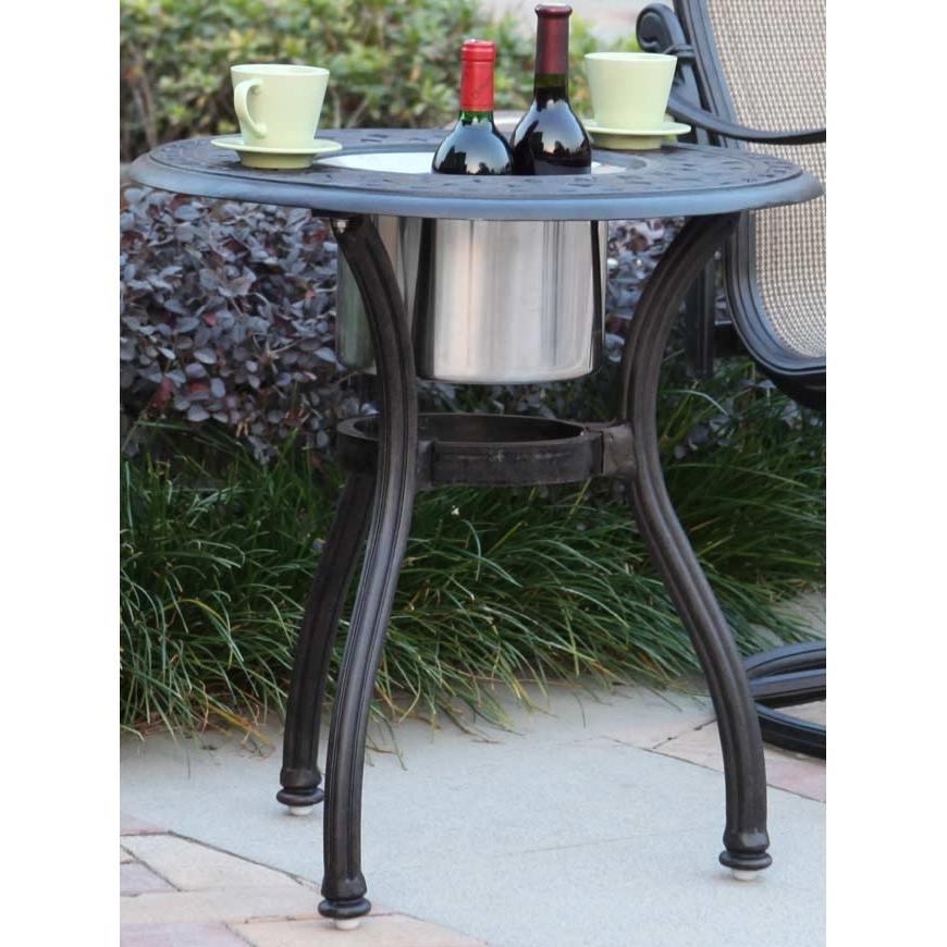 Darlee Series 60 Cast Aluminum Round Outdoor Patio End Table With Ice Bucket Insert - 24 Inch - Antique Bronze