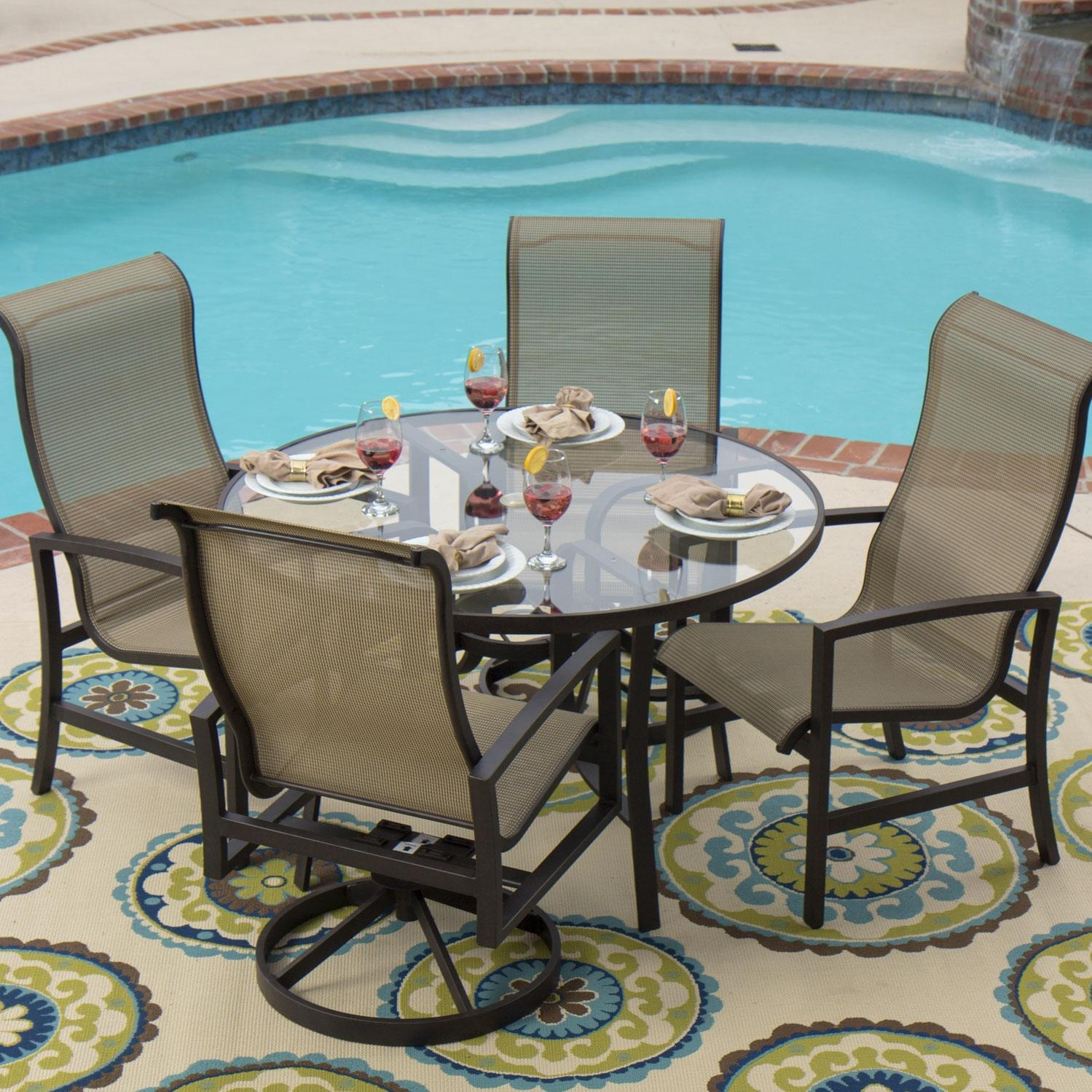 Picture of Acadia 4-Person Sling Patio Dining Set With 2 Swivel Rockers And Glass Table By Lakeview Outdoor Designs
