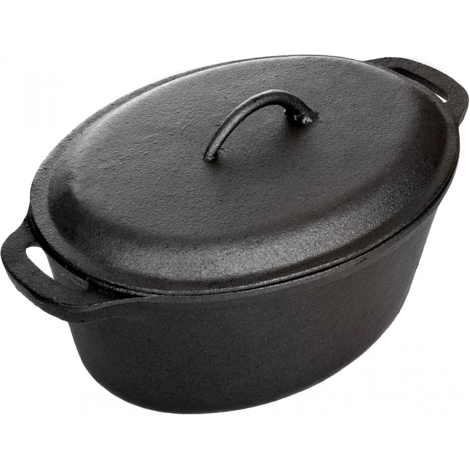Picture of Cajun Cookware Pots 5 Quart Seasoned Cast Iron Oval Casserole Pot