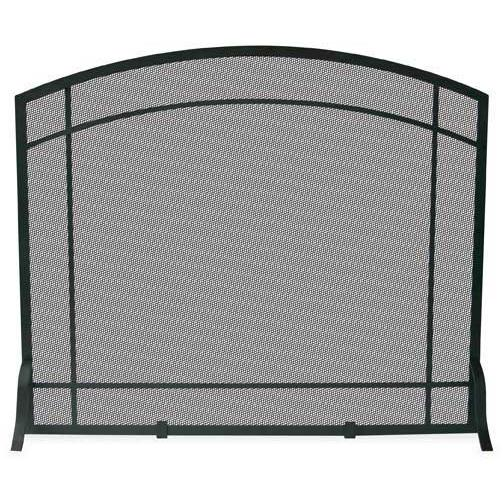 UniFlame 39 Inch Black Wrought Iron Single Panel Fireplace Screen With Mission Design