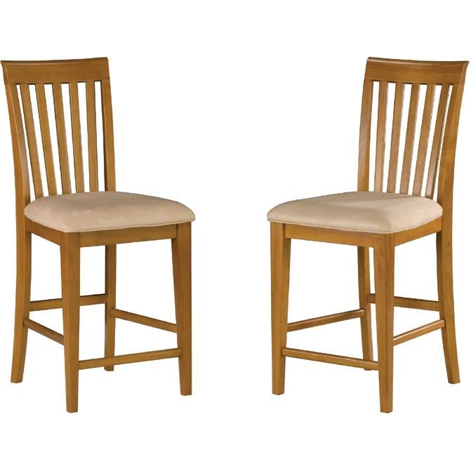 Atlantic Furniture 7002720 Mission Pub Chairs Caramel Latte W/ Oatmeal Cushion (Set Of 2 Chairs)