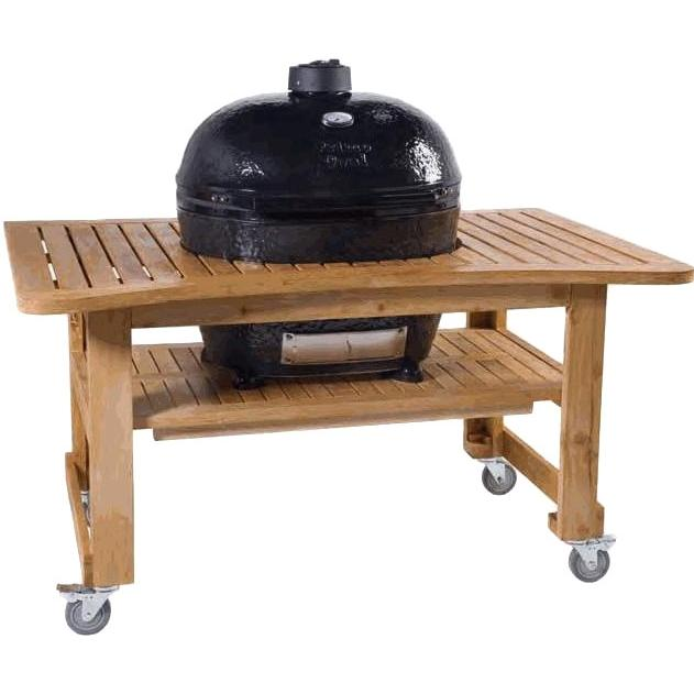 Deals Primo Ceramic Charcoal Smoker Grill On Teak Table