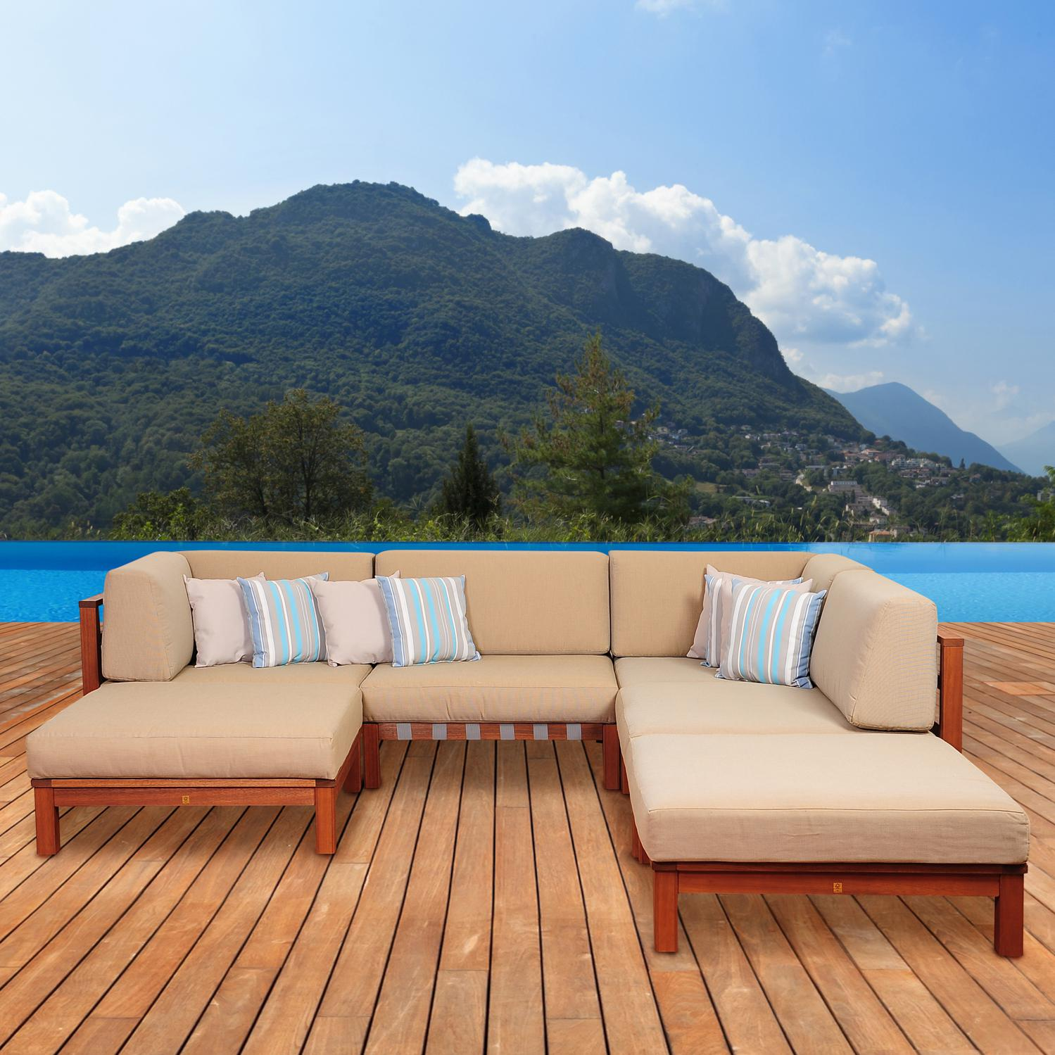 Picture of Amazonia Derbyshire 4-Person Eucalyptus Patio Sectional Set By Jamie Durie
