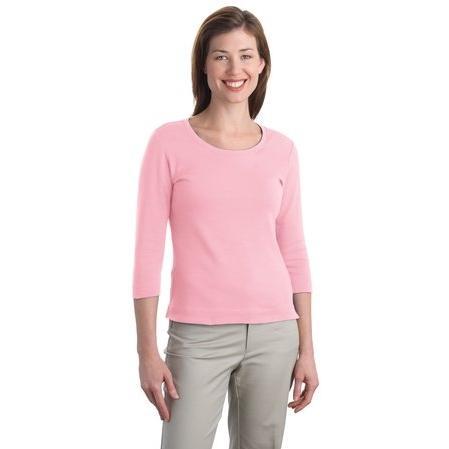 Port Authority Ladies Modern Stretch Cotton 3/4-Sleeve Scoop Neck Shirt 3XL - Petal Pink